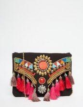 Glamorous - Pochette a battente con nappe e perline