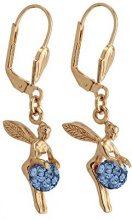 Bijoux pour tous Donna placcato oro Rotonda blu Ossido di zirconio FASHIONEARRING