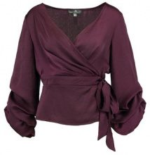 Missguided LAYER GATHERED SLEEVE TIE WAIST BLOUSE Camicetta burgundy