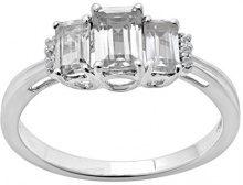 Jewelili Donna  9 carati  oro bianco smeraldo   bianco Topazio FASHIONRING