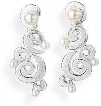 Drachenfels Design–Orecchini per donna perline argento perla d' acqua dolce perla coltivata Bianco di rugiada–D PET 22/AG