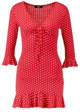Missguided POLKA DOT FRILL TEA DRESS Vestito di jeans red