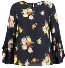 Warehouse VICTORIA FLORAL RUFFLE SLEEVE Camicetta navy pattern