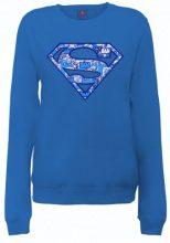DC Comics - Felpa, Manica lunga, Donna, blu (Royal Blue), S