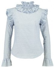 Lost Ink RUFFLE NECK Camicetta blue