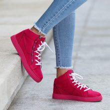 Sneakers alte con lacci a contrasto