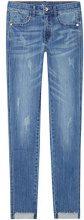 FIND Jeans Skinny con Orlo Asimmetrico Donna, Blu (Mid Blue), W26/L32 (Taglia Produttore: X-Small)