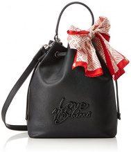 Love Moschino Borsa Saffiano Pu Nero-logo Nero - Donna, (Black), 23x26x24 cm (B x H T)