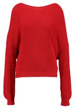 Missguided RED FLUFFY YARN TWIST BACK JUMPER Maglione red