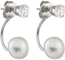 Bella Pearls Orecchini in argento Sterling con perle d'acqua dolce e zirconi quadrati