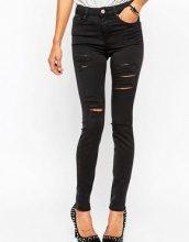 ASOS - Ridley - Jeans skinny a vita alta nero slavato con vistosi strappi