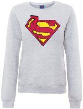 DC Comics - Dc Comics Official Superman Shards Logo Womens Sweatshirt, Lungo da donna,  manica lunga, collo rotondo, grigio(heather grey), taglia produttore: 40