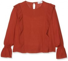 Elvi Frill Detailed Blouse, Blusa Donna, Brown (Rust), 50