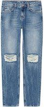 FIND Boyfriend Jeans con Strappi sulle Ginocchia Donna, Blu (Mid Blue), 42 (Manufacturer Size:Small)