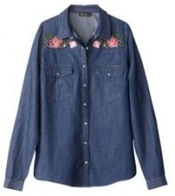 Camicia in denim, fiori ricamati