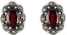Esse Marcasite Donna  925  argento Ovale   marrone Granato Marcasite