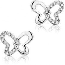 Miore Orecchini Donna Orecchini Farfalla  Piccoli a  Lobo  Diamanti taglio Brillante ct 0.04   Oro Bianco 9 Kt / 375