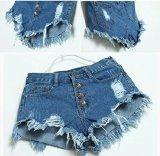Chianrliu®donne annata vita alta jeans buco breve jeans denim shorts