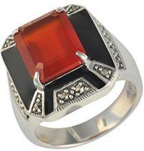 Esse Marcasite-Anello in argento Sterling, con Marcasite e corniola rossa Art Deco-Anello, argento, 54 (17.2), cod. 214R5650-01/AMN
