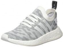 adidas NMD_r2 Primeknit, Scarpe da Ginnastica Basse Donna, Bianco (Footwear White/Footwear White/Core Black), 39 1/3 EU