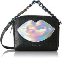 Kendall + Kylie Lucy Lips - Borse a tracolla Donna, Mehrfarbig (Black Silver), 8x15,8x20 cm (B x H T)