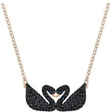 Swarovski Collana Iconic Swan Double, nero, placcato oro rosa