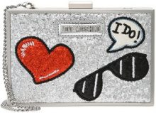 Love Moschino GLITTER PATCHES BOXBAG Pochette argento