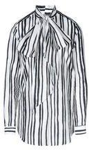 Camicia con fiocco in seta con stampa a righe, Made in Italy