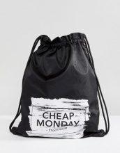 Cheap Monday - Borsa con coulisse e logo effetto pennellata - Nero