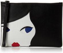 Lulu Guinness Doll Face - Portamonete Donna, Black (Blk/chalk), 1.5x16x24 cm (W x H L)