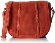 PIECES Pccameo Leather Cross Over Bag - Borse a spalla Donna, Orange (Ginger), 6x20x22 cm (L x H D)
