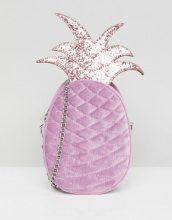 Skinnydip - Borsa a tracolla in velluto con ananas lilla - Viola