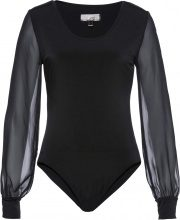 Body modellante con maniche in chiffon (Nero) - bpc selection premium