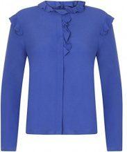 Coster Copenhagen Moss Crepe Shirt W. Ruffle, Camicia Donna, Blue (Moroccan Blue), 40