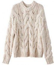 Pull intrecciato, maglia grossa, lana