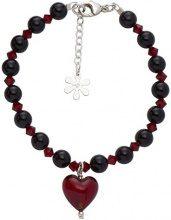 Amanti Venezia - Bracciale con ciondolo a forma di cuore in vetro di Murano, lunghezza 17-19,5 cm, colore: rosso