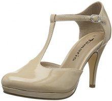 Tamaris 24428, Scarpe con Chiusura a T Donna, Beige (Cream Patent 452), 39 EU