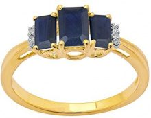 Jewelili Donna  9 carati  oro giallo smeraldo   blu Zaffiro Topazio FASHIONRING