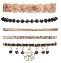 Set di 5 bracciali con pietre decorative e ciondolo a fiore