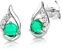 ByJoy - Orecchini da donna  925  argento Rotonda  Verde