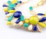 Qiyun Fiore Giallo Resina Blu Collana Di Perline D'Oro Del Choker Del Collare Pettorina