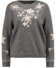 Topshop EMBEL & EMBROIDERED FLUFFY JUMPER Maglione grey marl
