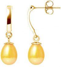 Pearls Colors &-Orecchini pendenti, in oro giallo 9 kt, con perla d'acqua dolce, AM-9BOC 136 P6J-GO