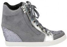 Sneakers alte con zeppa e glitter metallizzate