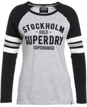 Superdry FOOTBALL Maglietta a manica lunga black/grey marl/ecru