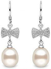 Kimura Pearls Orecchini con perle d'acqua dolce semicircolari da 8,5 - 9 mm, bianche con base argentata