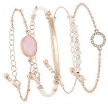 Set di 4 bracciali con pietre in vetro pastello