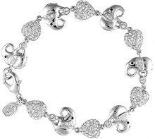 Cristalina Bracciale con elefanti e cuori, in argento, con cristalli Swarovski, lunghezza 20 cm, reversibile