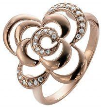 Orphelia 925 argento donna-anello in ottone placcato oro con zirconi bianchi taglio rotondo parte - ZR-3939/1, Argento, 14, colore: 18 Karat Rose-Gold Plated, cod. ZR-3939/1/54