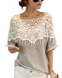 DJT - Crochet Cape colletto in pizzo T-shirt Camicetta - Donna